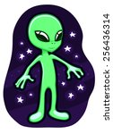 cartoon alien flying in the... | Shutterstock .eps vector #256436314