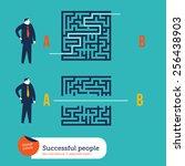 businessmen using different... | Shutterstock .eps vector #256438903