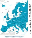 europe   map and navigation... | Shutterstock .eps vector #256448506