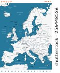 europe map and navigation icons ... | Shutterstock .eps vector #256448536
