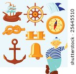 nautical icons and lucky seaman....   Shutterstock .eps vector #25645510