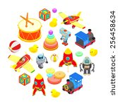 set of isometric toys isolated... | Shutterstock .eps vector #256458634