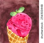 pink ice cream. hand painted... | Shutterstock . vector #256503448