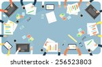 business meeting and... | Shutterstock .eps vector #256523803