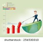 businessman pulling arrows...