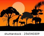 silhouettes of african animals... | Shutterstock .eps vector #256540309