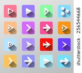set arrow icons   flat ui for... | Shutterstock . vector #256544668