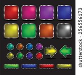 button colorful on black... | Shutterstock .eps vector #256556173