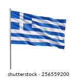 waving flag of greece on a... | Shutterstock . vector #256559200