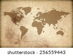 world map on old paper | Shutterstock . vector #256559443