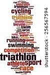 triathlon word cloud concept.... | Shutterstock .eps vector #256567594