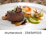 delicious steak with wild... | Shutterstock . vector #256569310