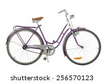 pink old fashioned bicycle... | Shutterstock . vector #256570123