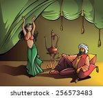 eastern beautiful girl dancing... | Shutterstock .eps vector #256573483