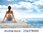 sky of blue woman and pier of... | Shutterstock . vector #256578400