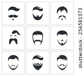 retro mens hair styles icon set | Shutterstock . vector #256581373