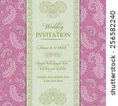 wedding invitation in pastel... | Shutterstock .eps vector #256582240