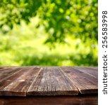 wooden table against defocused... | Shutterstock . vector #256583998
