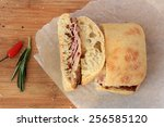 grilled ham and cheese sandwich ... | Shutterstock . vector #256585120