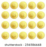 set of 20 gold money currency.... | Shutterstock .eps vector #256586668