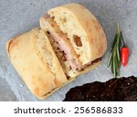 grilled ham and cheese sandwich ... | Shutterstock . vector #256586833