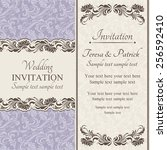 baroque wedding invitation card ... | Shutterstock .eps vector #256592410