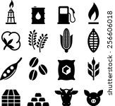 commodities trading icon set.