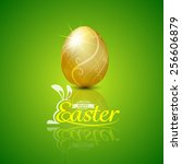 Happy Easter With Golden Egg...