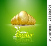 Happy Easter With Golden Eggs...