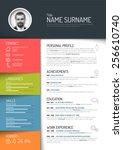 vector minimalist cv   resume...   Shutterstock .eps vector #256610740