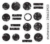 grunge shapes  set  black... | Shutterstock .eps vector #256613923