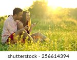 young couple in love having fun ... | Shutterstock . vector #256614394