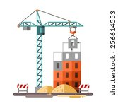 construction  building a house  ... | Shutterstock .eps vector #256614553