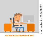 the guy at the computer. vector ... | Shutterstock .eps vector #256620028
