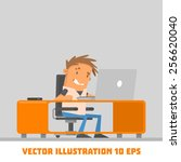 the guy at the computer. vector ... | Shutterstock .eps vector #256620040
