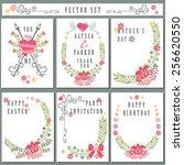 cute vintage  floral elements... | Shutterstock .eps vector #256620550