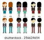 group of people in three... | Shutterstock .eps vector #256624654