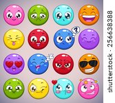 set of colorful cartoon round... | Shutterstock .eps vector #256638388