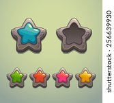 set of cartoon stone stars ...