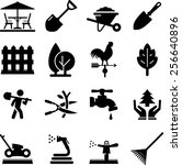 lawn care and landscaping icons   Shutterstock .eps vector #256640896