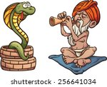 Cartoon Snake Charmer. Vector...