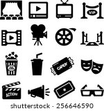 movie  film and theater icons   Shutterstock .eps vector #256646590