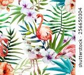 Flamingos  Watercolor  Tropics...