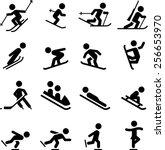 ski  skate  hockey ... | Shutterstock .eps vector #256653970