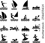 boating  swimming and other... | Shutterstock .eps vector #256655614