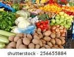 fresh organic fruits and... | Shutterstock . vector #256655884