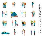 friends company teamwork... | Shutterstock .eps vector #256657198