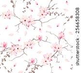 Magnolia Blossom Trees Seamles...