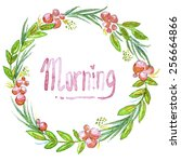 watercolor illustrated greeting ... | Shutterstock .eps vector #256664866