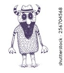 weird monster with beard vector ... | Shutterstock .eps vector #256704568